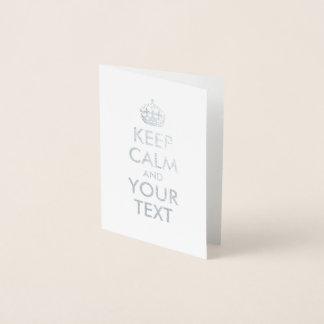 銀は平静およびあなたの文字を保ちます 箔カード