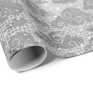 銀は白黒灰色のダイヤモンドのスパンコールを曇らせます ラッピングペーパー