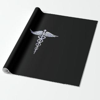 銀は黒い装飾のケリュケイオンの医学の記号を好みます ラッピングペーパー