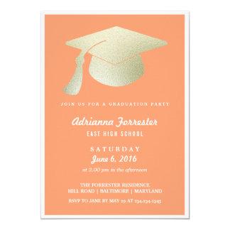 銀ぱくの卒業の帽子の珊瑚の卒業パーティー 12.7 X 17.8 インビテーションカード