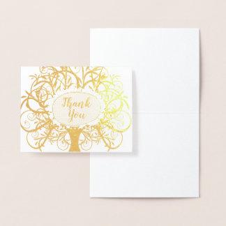 銀ぱくの渦巻の木は感謝していしています 箔カード