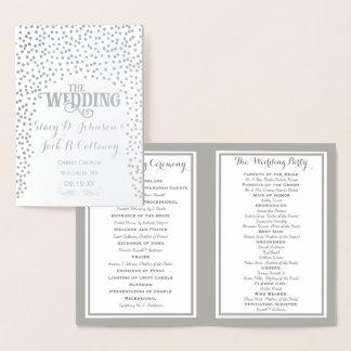 銀ぱくの結婚式プログラムの紙吹雪 箔カード