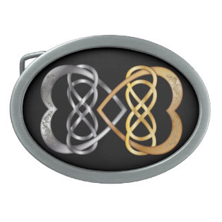 銀または金ゴールド3の編まれたハートの二重無限 卵形バックル