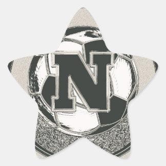 銀メダルのサッカーのモノグラムの手紙N 星シール