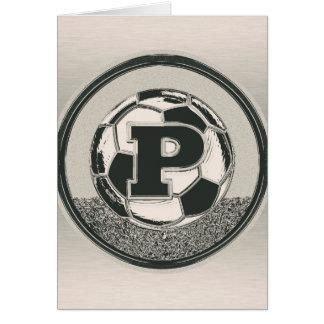 銀メダルのサッカーのモノグラムの手紙P カード