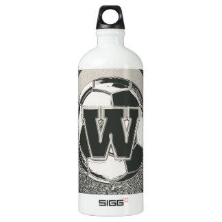 銀メダルのサッカーのモノグラムの手紙W ウォーターボトル