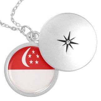 """銀メッキのロケット +18""""シンガポールのチェーン旗 ロケットネックレス"""