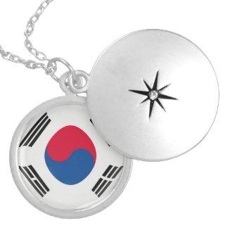 """銀メッキのロケット +18""""鎖の南朝鮮の旗 ロケットネックレス"""