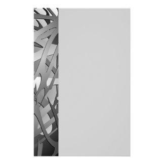 銀及び灰色の抽象的な枝 便箋