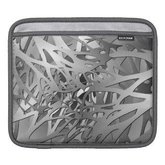 銀及び灰色の抽象的な枝 iPadスリーブ