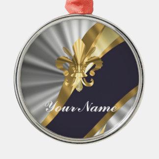 銀及び金ゴールドのフルーアdy Lys メタルオーナメント