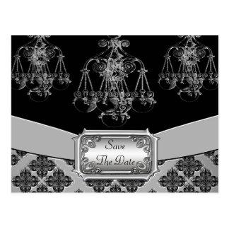 銀及び黒の華美なシャンデリアの結婚式 ポストカード