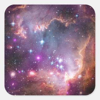 銀河の宇宙の紫色 正方形シール・ステッカー