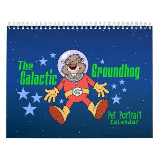 銀河のGroundhogのペットポートレートのカレンダー カレンダー