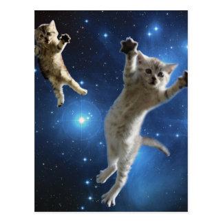 銀河系のまわりで浮かんでいる2匹の宇宙猫 ポストカード