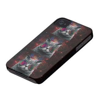 銀河系の前の宇宙猫の身に着けているゴーグル Case-Mate iPhone 4 ケース