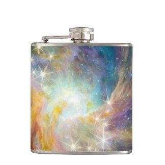 銀河系の宇宙の星雲の青い金ゴールドのラベンダーのピンク フラスク