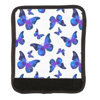 銀河系の蝶カッコいいの青く白いパターン ラゲッジ ハンドルラップ