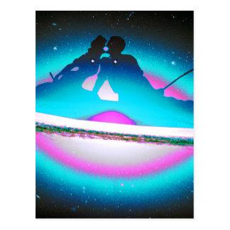 銀河系の青で接吻し、採取している恋人 ポストカード