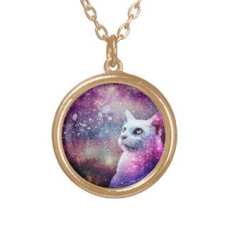 銀河系猫 ゴールドプレートネックレス