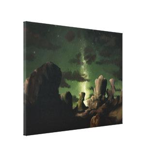 銀河系-星明かりの空のデジタル絵画キャンバス18x24 張りキャンバスプリント