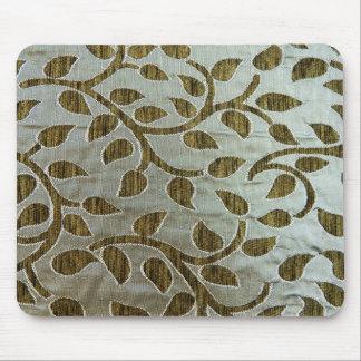銀色の生地の緑の葉 マウスパッド