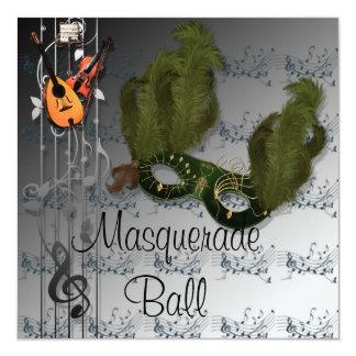 銀色の緑のマスクの仮面舞踏会の招待状 カード