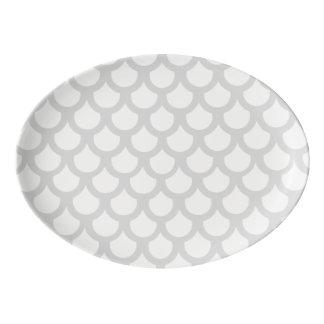 銀色の魚スケール1 磁器大皿