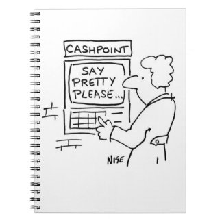 """銀行Cashpoint機械は""""かわいらしい""""言いなさいことを言います。 ノートブック"""