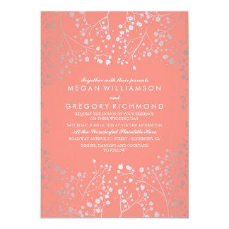 銀製およびピンクのベビーの呼吸ヴィンテージの結婚 カード
