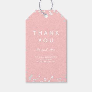 銀製およびピンクの紙吹雪のエレガントな結婚式 ギフトタグパック