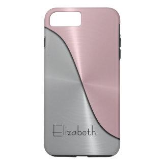 銀製およびピンクの鋼鉄金属 iPhone 8 PLUS/7 PLUSケース
