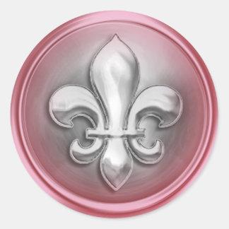 銀製およびピンクの(紋章の)フラ・ダ・リのエンボスの一見 丸型シール
