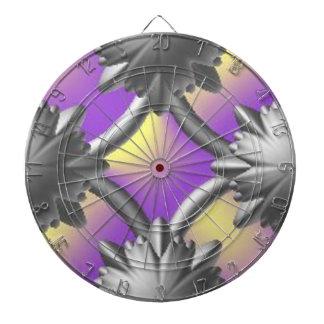 銀製および紫色の投げ矢板 ダーツボード