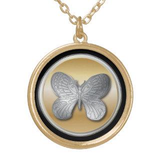 銀製および金効果の蝶bg2 ゴールドプレートネックレス