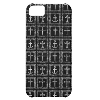銀製および黒い十字パターン iPhone5Cケース