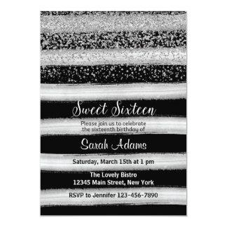 銀製および黒い誕生日の招待状 12.7 X 17.8 インビテーションカード