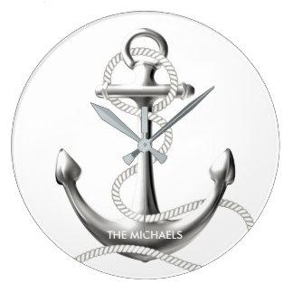 銀製のいかりの名前入りな航海のな柱時計 ラージ壁時計