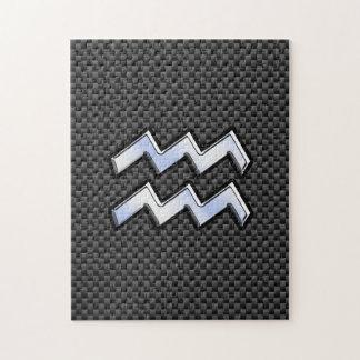 銀製のアクエリアスの(占星術の)十二宮図の記号カーボン繊維のスタイル ジグソーパズル