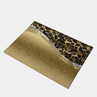 銀製のアクセントのエレガントな黒及び金ゴールドのダマスク織 ドアマット