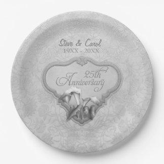銀製のオランダカイウ第25記念日の紙皿 ペーパープレート