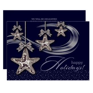 銀製のクリスマスの星のデザインのパーティの招待状 カード