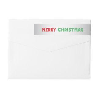 銀製のクリスマスの覆いの差出人住所ラベル ラップアラウンドラベル