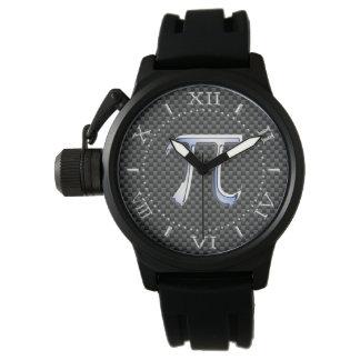 銀製のクロムはカーボンダイヤルのPiの記号を好みます 腕時計