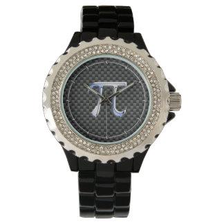 銀製のクロムはカーボン繊維のPiの記号を好みます 腕時計