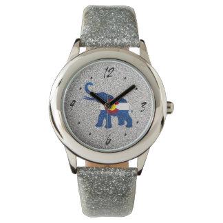 銀製のグリッターのコロラド州の旗象の腕時計 腕時計