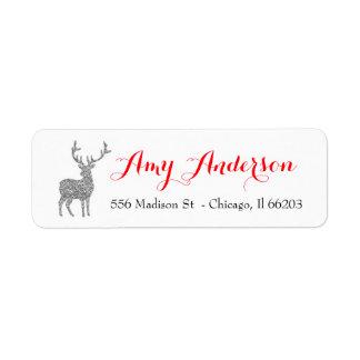 銀製のグリッターのシカが付いているクリスマスの宛名ラベル ラベル