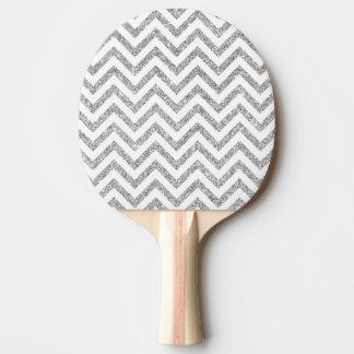 銀製のグリッターのジグザグ形のストライプなシェブロンパターン 卓球ラケット