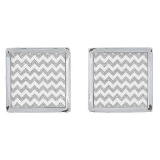 銀製のグリッターのジグザグ形のストライプなシェブロンパターン 銀色 カフリンク