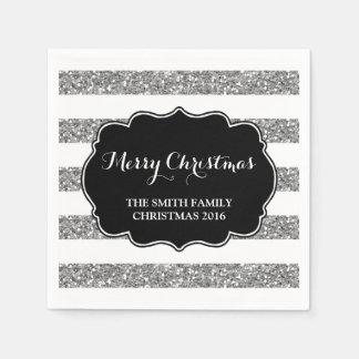 銀製のグリッターのストライプのメリークリスマスのナプキン スタンダードカクテルナプキン